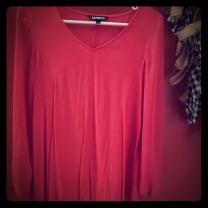 Express red swing dress with sheer sleeves